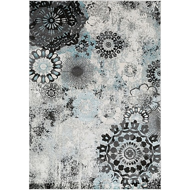 Winston Porter Holmstrom Distressed Floral Pale Gray/Black Area Rug; Rectangle 5'3'' x 7'3''