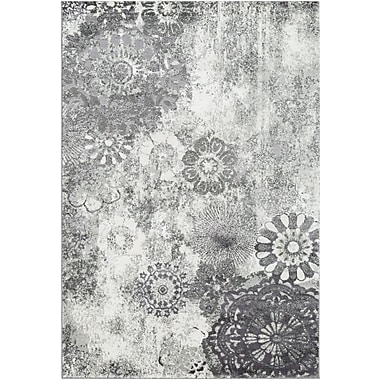 Winston Porter Holmstrom Distressed Floral Gray Area Rug; Rectangle 5'3'' x 7'3''