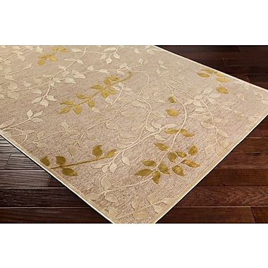 Winston Porter Holoman Transitional Floral Beige/Yellow Area Rug; Rectangle 5'2'' x 7'6''