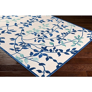Winston Porter Holoman Transitional Floral Bright Blue/Teal Area Rug; Rectangle 5'2'' x 7'6''
