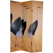World Menagerie Gallagher 72'' x 48'' Double Sided Cranes 3 Panel Room Divider