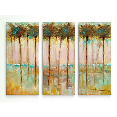 Bay Isle Home 'Palms at Dusk' Acrylic Painting Print Multi-Piece Image on Wrapped Canvas