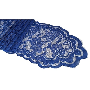 Astoria Grand Franklin Lace Sash Table Runner; Navy