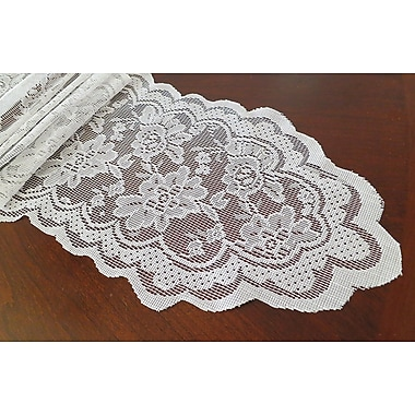 Astoria Grand Franklin Lace Sash Table Runner; White