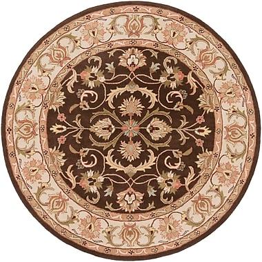 Astoria Grand Mckelvey Handmade Brown Area Rug; Round 8'