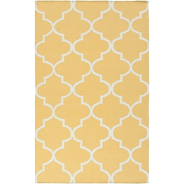 Ebern Designs Bangor Yellow Geometric Area Rug; 4' x 6'