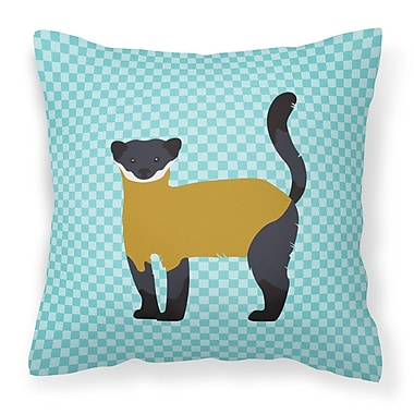 East Urban Home Throated Marten Check Outdoor Throw Pillow; Blue