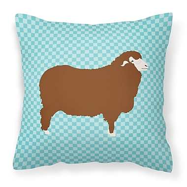 East Urban Home Sheep Check Square Fabric Outdoor Throw Pillow; Blue