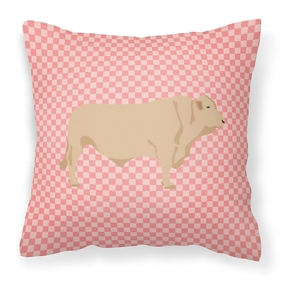 East Urban Home Cow Check Fabric Outdoor Throw Pillow; Pink
