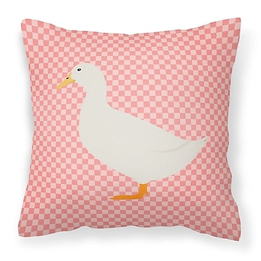 East Urban Home Pekin Duck Check Outdoor Throw Pillow; Pink