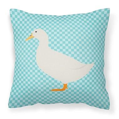 East Urban Home Pekin Duck Check Outdoor Throw Pillow; Blue