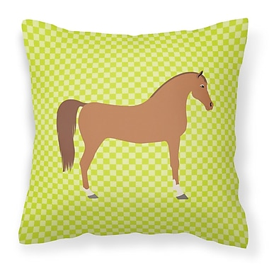 East Urban Home Horse Check Square Outdoor Fabric Throw Pillow; Green