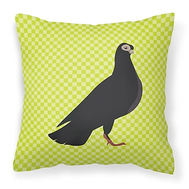 East Urban Home Pigeon Check Square Outdoor Throw Pillow; Green