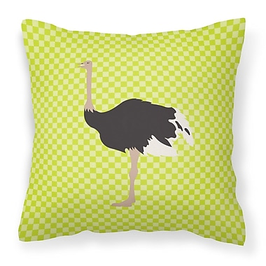 East Urban Home Ostrich Check Outdoor Throw Pillow; Green