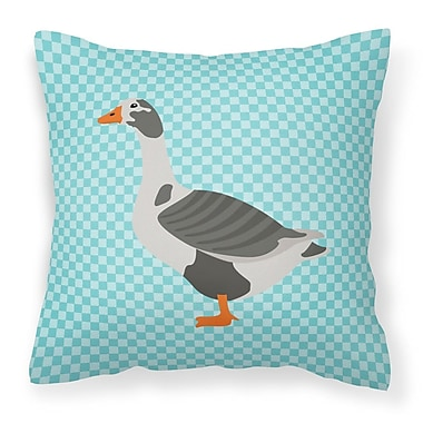 East Urban Home West of England Goose Check Outdoor Throw Pillow; Blue