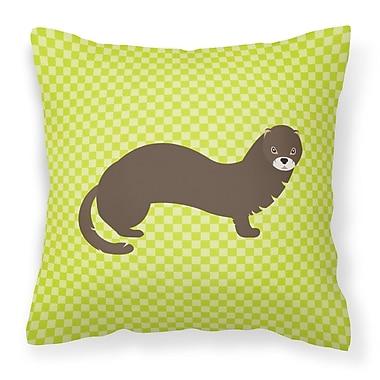 East Urban Home Mink Check Outdoor Throw Pillow; Green