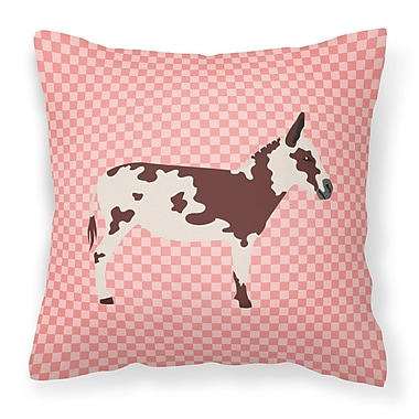 East Urban Home Spotted Donkey Check Outdoor Throw Pillow; Pink