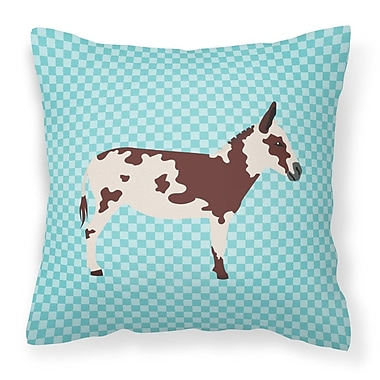 East Urban Home Spotted Donkey Check Outdoor Throw Pillow; Blue