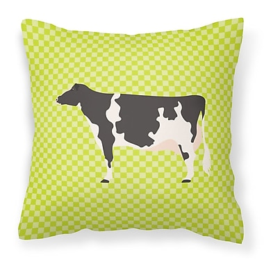 East Urban Home Eclectic Cow Check Outdoor Throw Pillow; Green