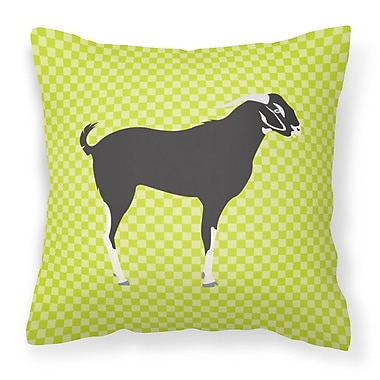 East Urban Home Goat Check Fabric Outdoor Throw Pillow; Green