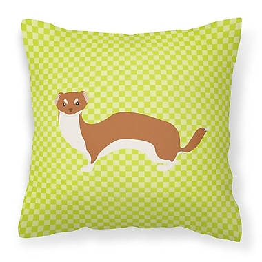 East Urban Home Weasel Check Outdoor Throw Pillow; Green