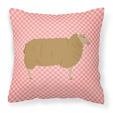 East Urban Home Sheep Check Square Outdoor Throw Pillow; Pink