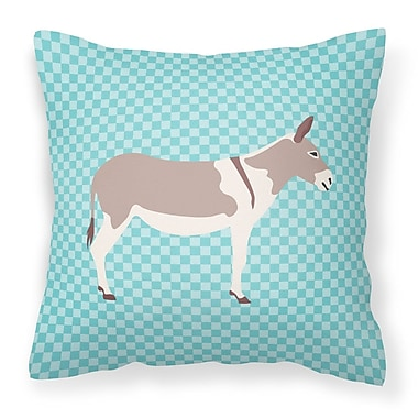 East Urban Home Teamster Donkey Check Outdoor Throw Pillow; Blue