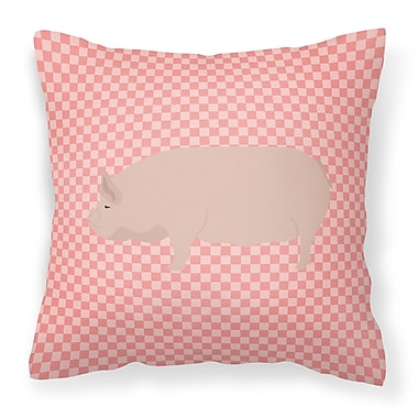 East Urban Home Pig Check Square Canvas Outdoor Throw Pillow; Pink