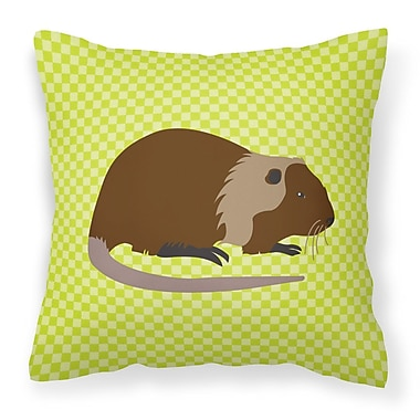 East Urban Home Nutria River Rat Check Outdoor Throw Pillow; Green