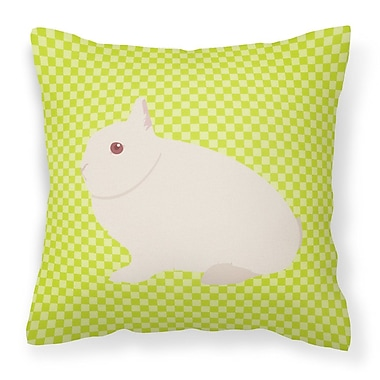 East Urban Home Rabbit Check Square Canvas Outdoor Throw Pillow; Green