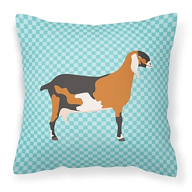 East Urban Home Nubian Goat Check Outdoor Throw Pillow; Blue