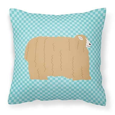 East Urban Home Eclectic Sheep Check Square Outdoor Throw Pillow; Blue