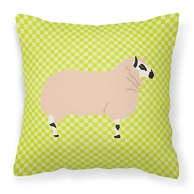 East Urban Home Eclectic Sheep Check Fabric Outdoor Throw Pillow; Green