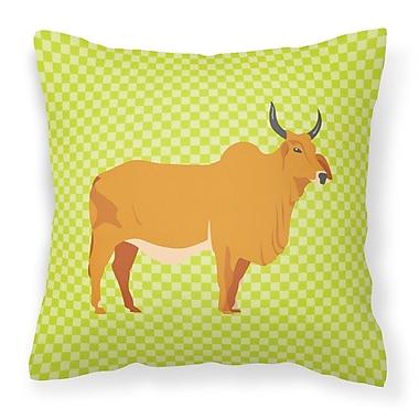 East Urban Home Zebu Indicine Cow Check Outdoor Throw Pillow; Green