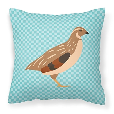 East Urban Home Quail Check Fabric Outdoor Throw Pillow; Blue