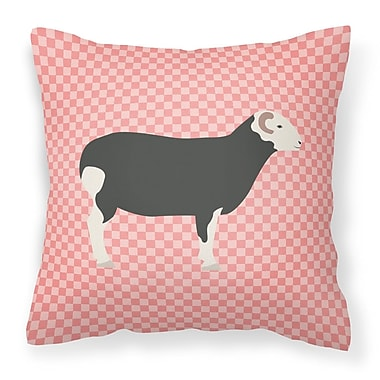 East Urban Home Herwick Sheep Check Outdoor Throw Pillow; Pink