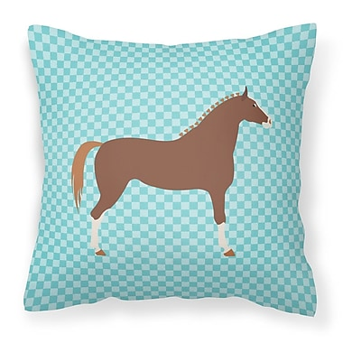 East Urban Home Horse Check Canvas Outdoor Fabric Throw Pillow; Blue