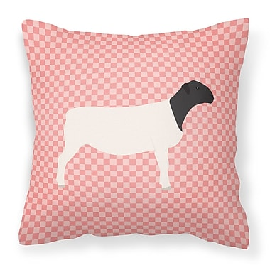 East Urban Home Dorper Sheep Check Outdoor Throw Pillow; Pink