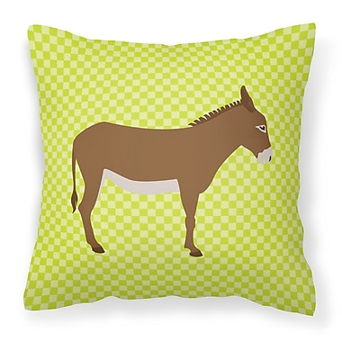 East Urban Home Donkey Check Square Outdoor Throw Pillow; Green