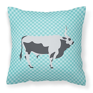 East Urban Home Steppe Cow Check Outdoor Throw Pillow; Blue