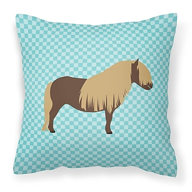 East Urban Home Pony Horse Outdoor Throw Pillow; Blue