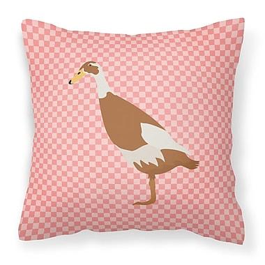 East Urban Home Runner Duck Check Outdoor Throw Pillow; Pink