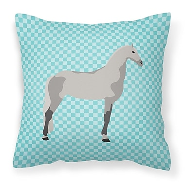 East Urban Home Horse Check Fabric Outdoor Throw Pillow; Blue