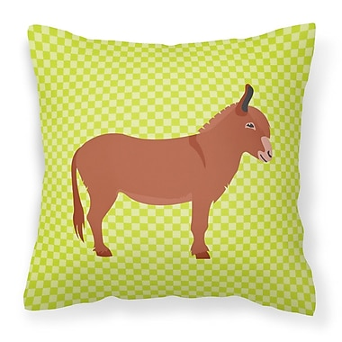 East Urban Home Donkey Check Fabric Outdoor Throw Pillow; Green