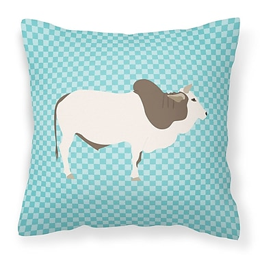 East Urban Home Eclectic Cow Check Square Outdoor Throw Pillow; Blue