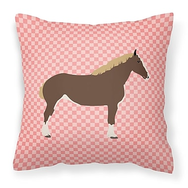 East Urban Home Horse Check Square Fabric Outdoor Throw Pillow; Pink