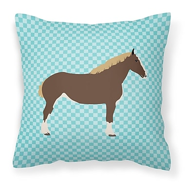East Urban Home Horse Check Square Fabric Outdoor Throw Pillow; Blue