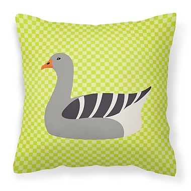 East Urban Home Eclectic Goose Check Square Outdoor Throw Pillow; Green