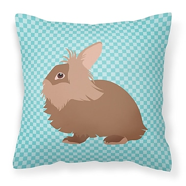 East Urban Home Rabbit Check Square Outdoor Throw Pillow; Blue