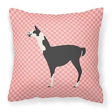 East Urban Home Llama Check Outdoor Throw Pillow; Pink